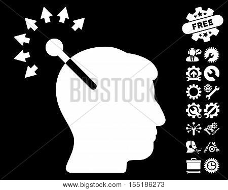 Optical Neural Interface pictograph with bonus options pictograph collection. Vector illustration style is flat iconic symbols on white background.