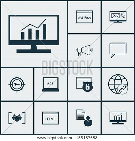 Set Of Marketing Icons On Digital Media, Security And Questionnaire Topics. Editable Vector Illustra