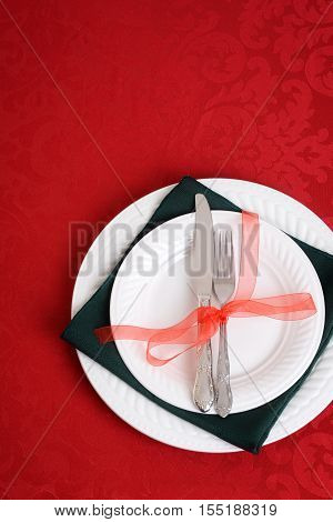 top view christmas place settings with ribbon