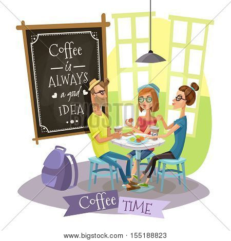 Coffee time design concept with group of young people belonging to subculture of hipsters drinking coffee in cafe interior flat vector illustration
