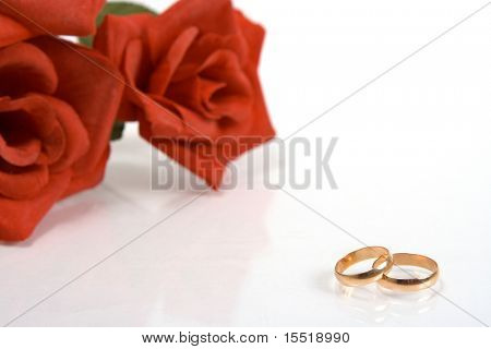 Two wedding rings and red rose at the background. Focus on rings