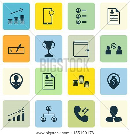 Set Of Human Resources Icons On Phone Conference, Employee Location And Female Application Topics. E