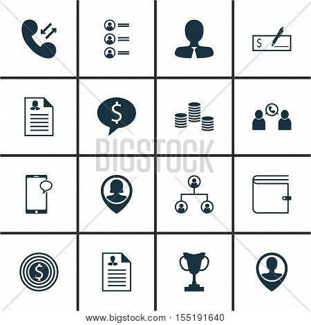 Set Of Human Resources Icons On Money, Cellular Data And Pin Employee Topics. Editable Vector Illust