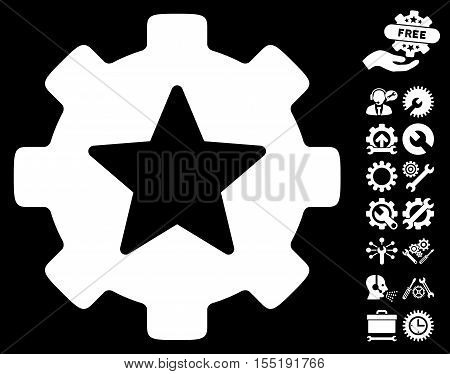 Star Favorites Options Gear pictograph with bonus configuration pictograph collection. Vector illustration style is flat iconic symbols on white background.