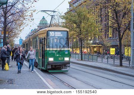 HELSINKI , FINLAND - OCTOBER 13, 2016: A streetcar named surgeon on Mannerheim street in the city center of Helsinki. Helsinki is the capital of Finland.