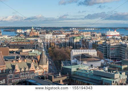 HELSINKI , FINLAND - OCTOBER 29, 2010: Aerial view of Helsinki and the Baltic sea. Helsinki is the capital of Finland.