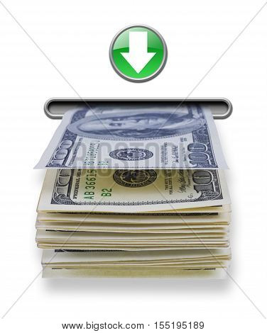 US dollar money stack dispensed from imaginary atm cash machine