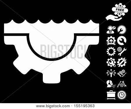 Water Service Gear icon with bonus settings clip art. Vector illustration style is flat iconic white symbols on black background.