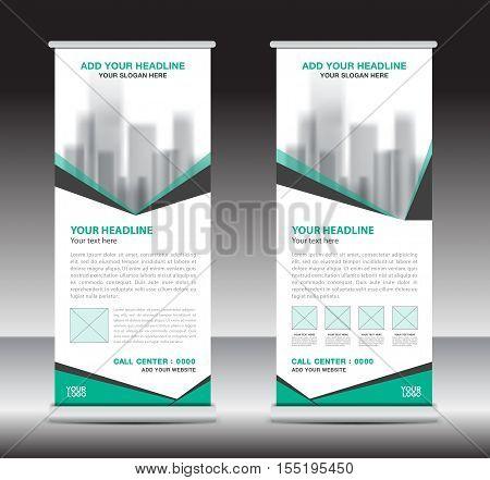 Green roll up business brochure flyer banner design vertical template vector, x-stand, flag-banner, advertisement template