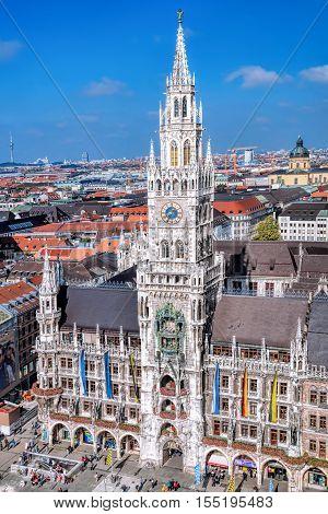 Aerial View On Marienplatz Town Hall In Munich, Germany