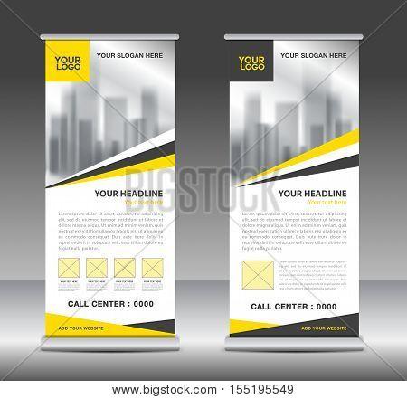 Yellow roll up business brochure flyer banner design vertical template vector, x-stand, flag-banner, advertisement template