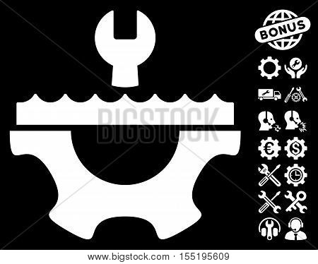 Water Service Gear pictograph with bonus service pictures. Vector illustration style is flat iconic white symbols on black background.