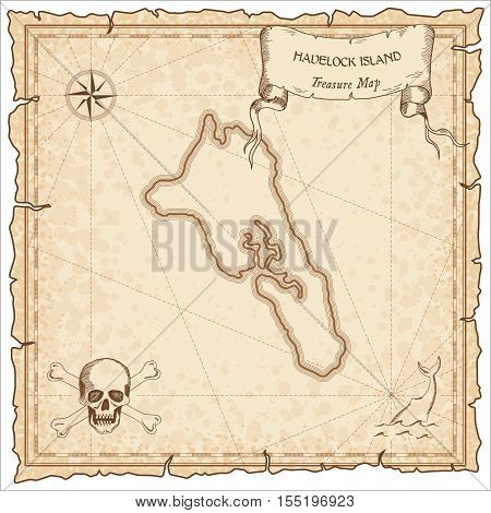 Havelock Island Old Pirate Map. Sepia Engraved Parchment Template Of Treasure Island. Stylized Manus