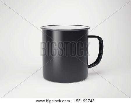 Black blank enamel mug on bright floor in a bright studio. 3d rendering