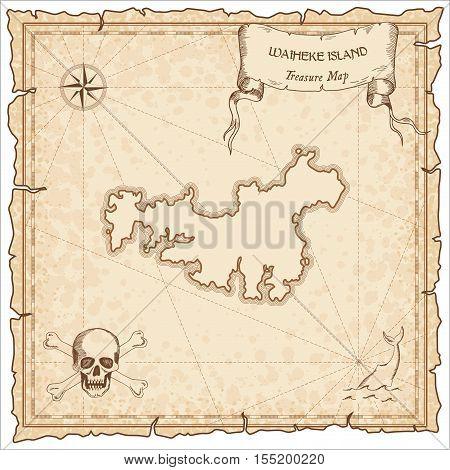 Waiheke Island Old Pirate Map. Sepia Engraved Parchment Template Of Treasure Island. Stylized Manusc