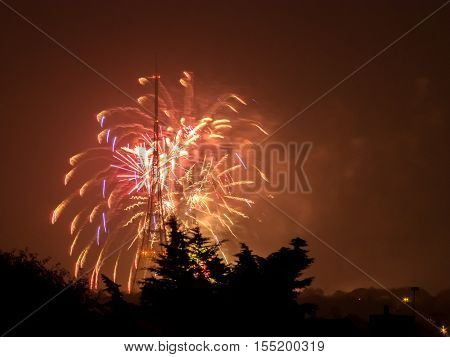 Fireworks over Crystal Palaca transmitting station on the Guy Fawkes Night also known as Bonfire Night, Fireworks Night on the 5th of November, London, England