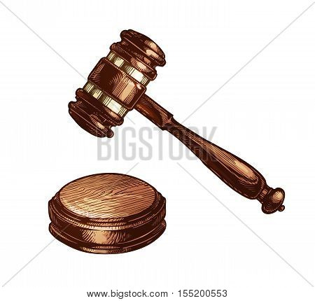 Wooden judges gavel isolated on white background. Vector illustration