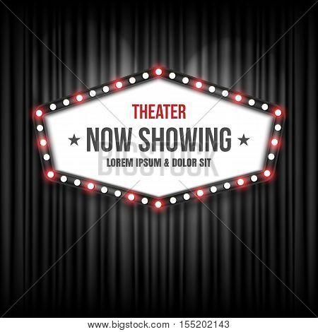 Theater cinema Sign, retro sign. Vector illustration
