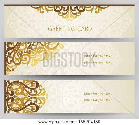 Vintage Ornate Cards In East Style.