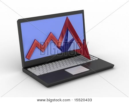 Laptop. concept of financial falling. 3D image.