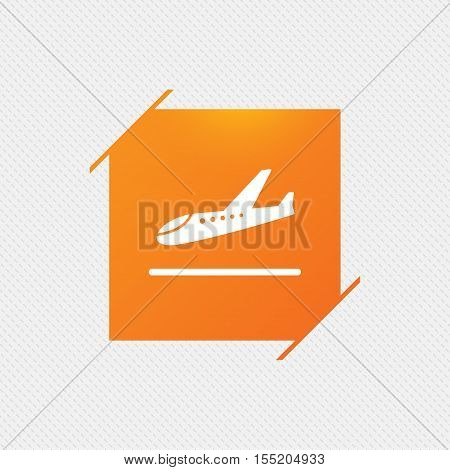 Plane landing icon. Airplane transport symbol. Orange square label on pattern. Vector