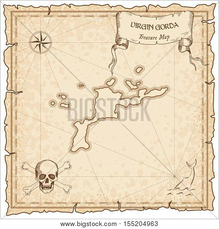 Virgin Gorda Old Pirate Map. Sepia Engraved Parchment Template Of Treasure Island. Stylized Manuscri