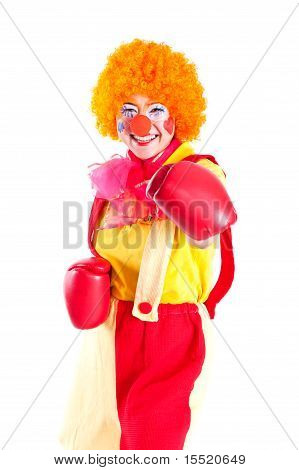 A Girl Dressed As A Clown With Red Nose