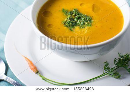 healthful bowl Autumn soup pumpkin puree orange