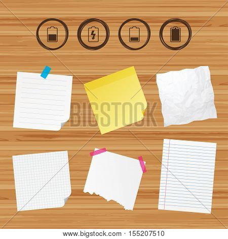 Business paper banners with notes. Battery charging icons. Electricity signs symbols. Charge levels: full, half and low. Sticky colorful tape. Vector