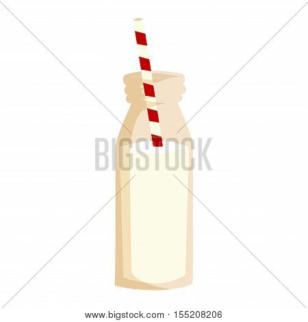 Milkshakes chocolate flavor ice cream bottle isolated on white background. Vector cocktail beverage cold white milk shake. Smoothie healthy milkshake refreshment food delicious chocolate drink.