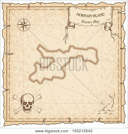 Norman Island Old Pirate Map. Sepia Engraved Parchment Template Of Treasure Island. Stylized Manuscr