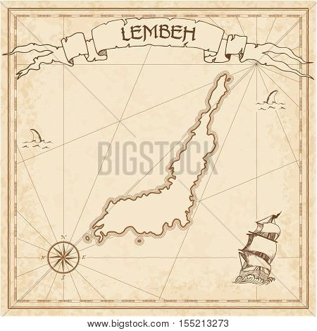 Lembeh Old Treasure Map. Sepia Engraved Template Of Pirate Island Parchment. Stylized Manuscript On