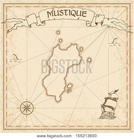 Mustique Old Treasure Map. Sepia Engraved Template Of Pirate Island Parchment. Stylized Manuscript O