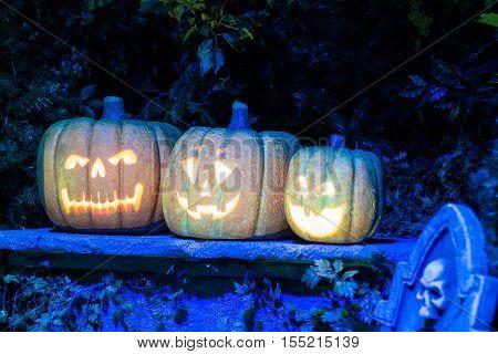 Pumpkin faces in W5, Odyssey, Belfast, Northern Ireland