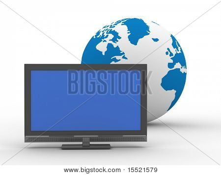 TV and globe on  white background. Isolated 3D image