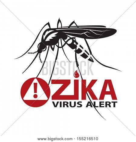 image of Zika virus alert with mosquito prohibited sign