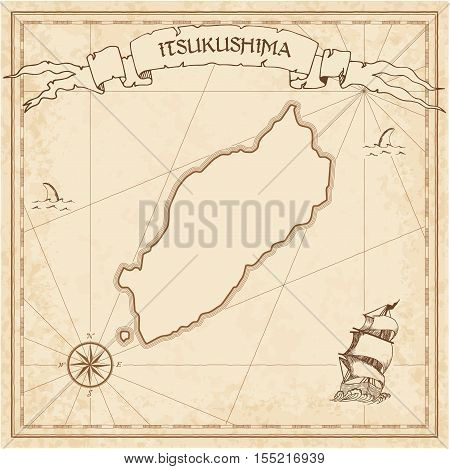Itsukushima Old Treasure Map. Sepia Engraved Template Of Pirate Island Parchment. Stylized Manuscrip