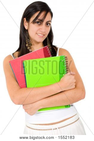Female Student Holding Notebooks