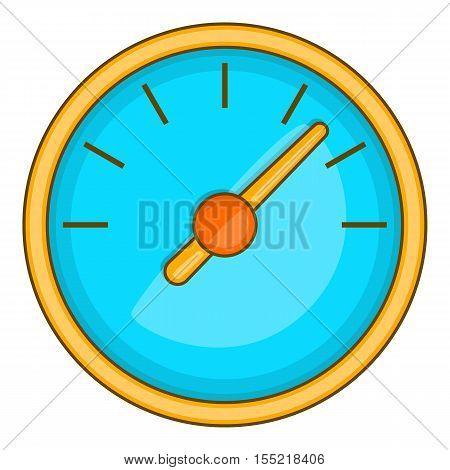 Large round speedometer icon. Cartoon illustration of speedometer vector icon for web design