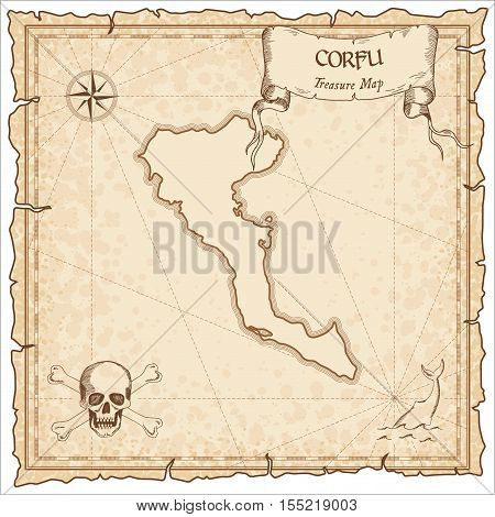Corfu Old Pirate Map. Sepia Engraved Parchment Template Of Treasure Island. Stylized Manuscript On V