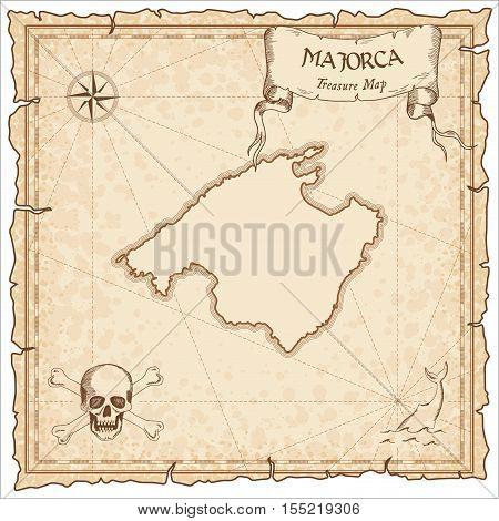 Majorca Old Pirate Map. Sepia Engraved Parchment Template Of Treasure Island. Stylized Manuscript On