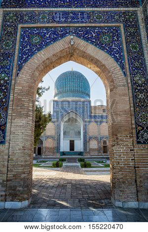 Guri Amir is a mausoleum of the Asian conqueror Tamerlane (also known as Timur) in Samarkand Uzbekistan
