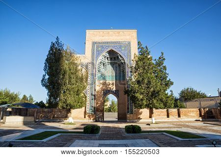 Gur-Emir mausoleum of Tamerlane (Amir Timur) and his family in Samarkand Uzbekistan. Entrance portal of the complex