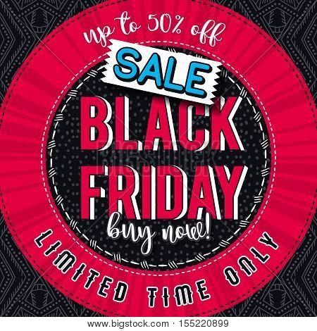 Black friday sale banner on color patterned background vector illustration