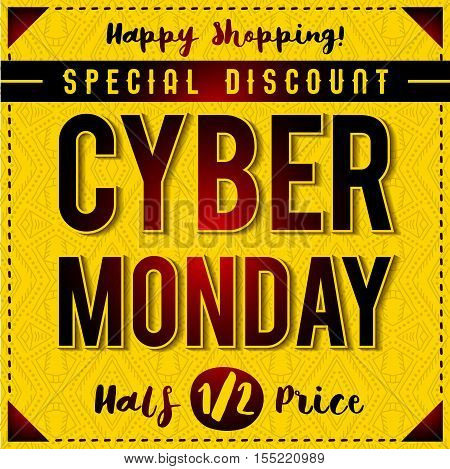 Cyber Monday sale banner on yellow patterned background vector illustration