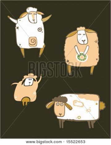 Coffee sheep set. To see more farm animals, please visit my gallery