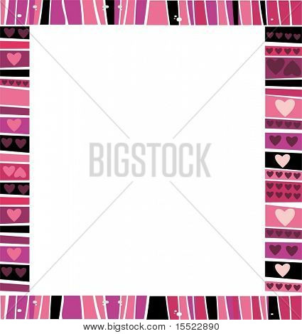 Valentine's hearts frame.  Background with space for text. To see similar stuff, please visit my gallery