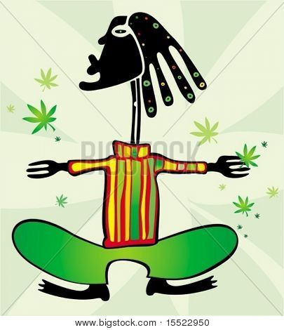 Rastaman with dreadlocks. To see similar illustrations, please VISIT MY GALLERY