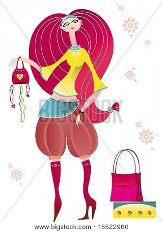 Stylish cartoon young woman with shopping bags. To see similar design elements, please visit my gallery