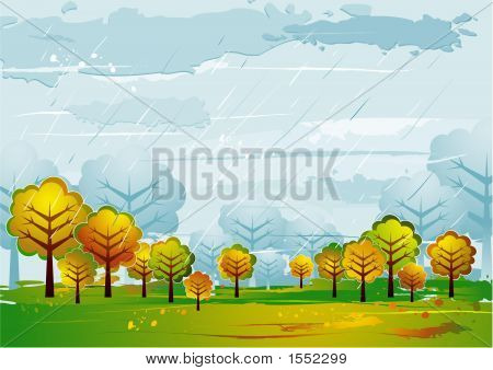 Landscape With Trees, Vector